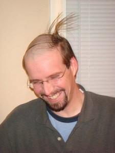 分け目と反対側からの風に弱いバーコードヘア